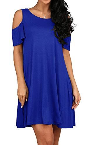 QIXING Women's Summer Short Sleeve Casual Loose T-Shirt Dress Royal Blue-M ()