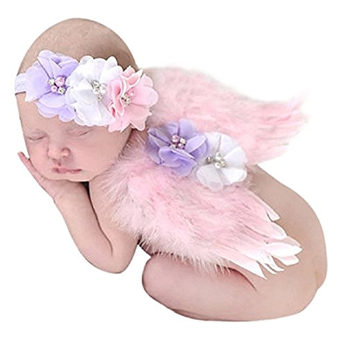 Photo Prop Outfit Baby Feather Angel Wings Costume Newborn Photo Prop Costume with Chiffon Flower Headband (Pink) -