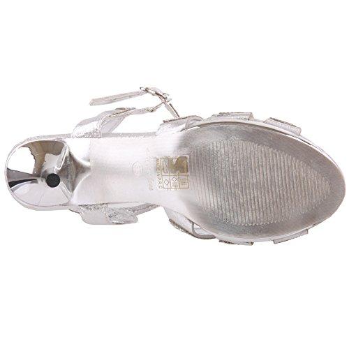 Unze Womens 'Luice' cristales acentuados sandalias de la boda Reino Unido tamaño 3-8 Plateado