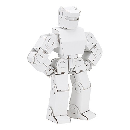 Fat Catalog DIY Tabletop  Robot Kit- Cardboard Coloring  Kit White/Black