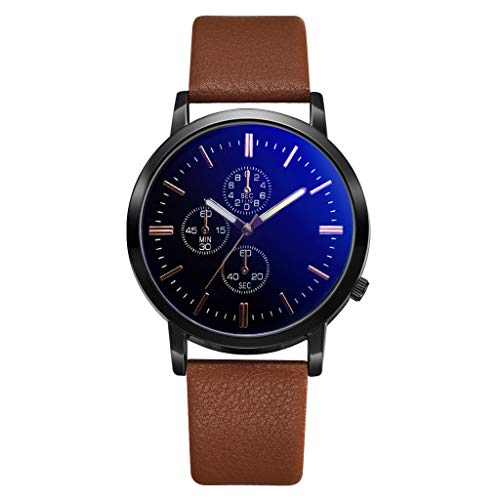 Men's Alloy Quartz Watches Analog Casual Wristwatch Waterproof 30M Dial Genuine Leather Simple Classic Business Watch (C)
