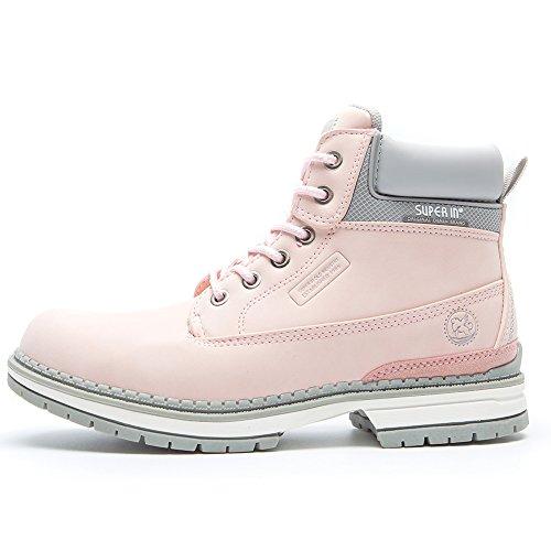 Bottines Ankle l'usure en le Faux Anjou Randonnée Bottes Boots Femme Lacets Meilleur à Choix Pink2 Chaussure Femmes Femme pour Plates Quotidienne Cuir Caoutchouc et Daim Femme pour la Pédestre rFwO5CqxrZ