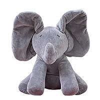 30cm Peek a Boo Elephant Teddy Bear Play Hide Seek Lovely Cartoon Stuffed Kids Birthday Gift Cute Electric Music Bear Plush Toy