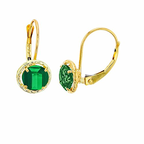 14K Yellow Gold 5mm Round Created Emerald Center Stone Rope Frame Leverback Earring