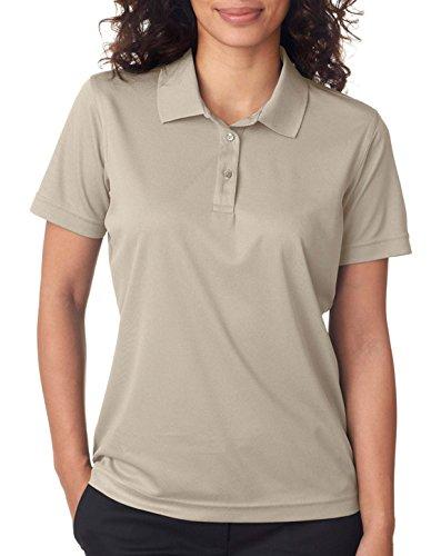 UltraClub Women's Cool & Dry Mesh Pique Polo Shirt, STONE, Medium ()