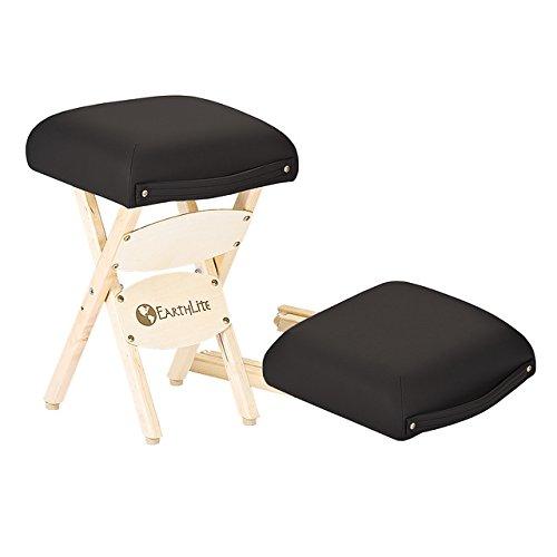 EARTHLITE Wooden Folding Stool – Hardwood Maple, CFC-Free, Massage Table Medical Spa Facial Salon Chair, Black