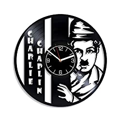 Kovides Charlie Chaplin Vinyl Record Wall Clock Charlie Chaplin Gift Movie Clock Charlie Chaplin Vinyl Clock Gift for Men Movie Wall Clock Modern Movie Wall Art Charlie Home Decor 12 inch Wall Clock