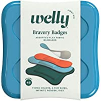 Welly Bandages - Bravery Badges, Flexible Fabric, Adhesive, Assorted Size, Solid Colors - 48 Count