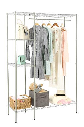 Garment Freestanding (Homebi Freestanding Closet Exra-Large Metal Shelving Garment Rack Wardrobe Storage Organizer Cothings Stand with Four Compartments and One Hanging Rod in Grey, 47.24