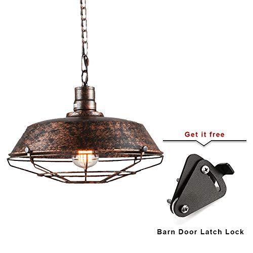 (KIRIN Metal Barns Industrial Vintage 1-Light Adjustable Chain Pendant Light Fixture Iron Cage Ceiling Fixture for Porch Bar Farmhouse Kitchen Edison Light Rustic Bronze)