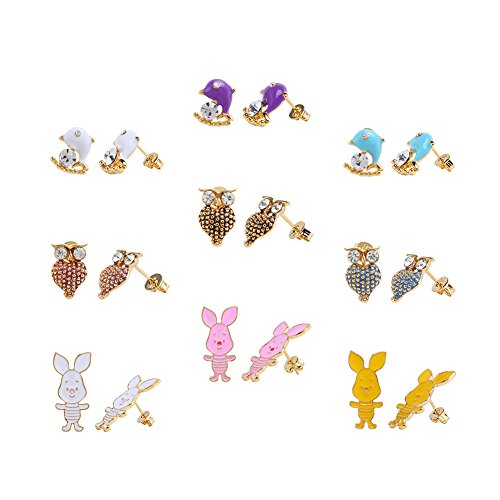 Animal Brown Earrings - LEILE 9 Pairs 18K Gold Plated Blue Purple Brown Pink Yellow White Cute Rabbits Dolphins Owls Animal Post Stud Earrings Set women Kids girls Mix 05
