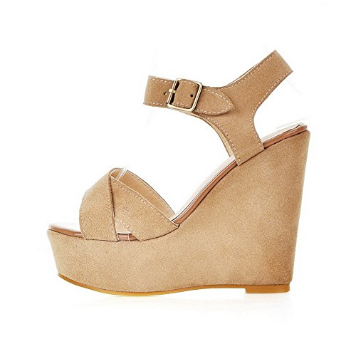 AmoonyFashion Womens Imitated Suede High-Heels Open-Toe Solid Buckle Sandals Apricot Av2O1xI