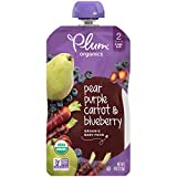Plum Organics Stage 2, Organic Baby Food, Pear, Purple Carrot and Blueberry, 4 Ounce Per Pack, Pack of 12 (Packaging May Vary)