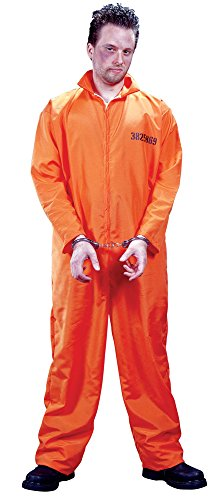 Got Busted Penitentiary! Adult Orange Prisoner Costume - Standard (Jailbird Adult Costume)