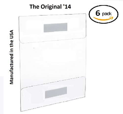 T'z Tagz The Original 6 Pack of Wall Mount 8.5 X 11 or 11 X 8.5 Clear Acrylic Sign Holders with ADHESIVE, No Drilling (Wall Holders Acrylic Sign)
