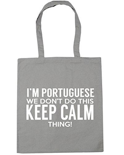 HippoWarehouse I'm Portugiesische we lied dont´t do das keep calm thing Einkaufstasche Fitnessstudio Strandtasche 42cm x38cm, 10 liter - Damen, Hellgrau, One size