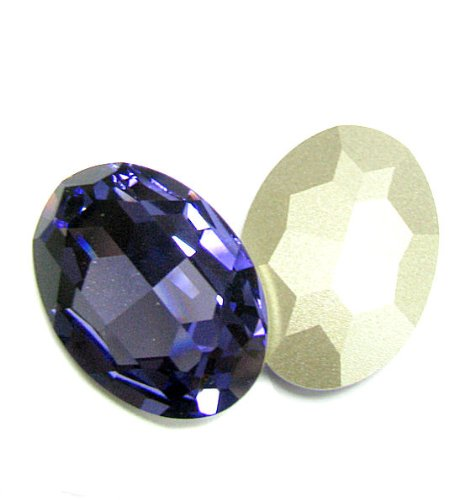 1 pc Swarovski Crystal 4127 Oval Cabochon Stone Bead Tanzanite Foiled 30mm X 22mm / Findings / Crystallized Element