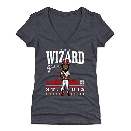 (500 LEVEL Ozzie Smith Women's V-Neck Shirt (Medium, Tri Navy) - St. Louis Cardinals Shirt for Women - Ozzie Smith Toon WHT)