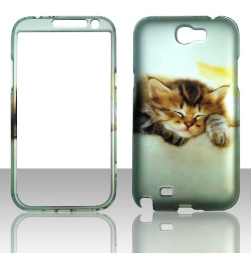 2D Kitty Cat Samsung Galaxy Note 2, II N7100, T889 Case Cover Hard Phone Case Snap-on Cover Rubberized Touch Protector Faceplates (Phone Faceplates Samsung)