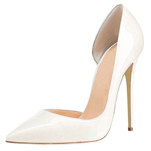 Toe Heel Wedding Womens Pumps On Sexy Shoes Party Pointed Slip Stiletto High Lovirs Patent White Size Plus EFqB4q