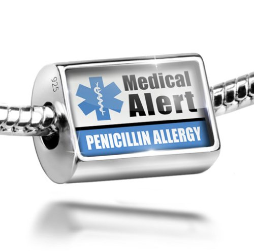 Sterling Silver Charm Medical Alert Blue Penicillin Allergy - Bead Fit All Euro