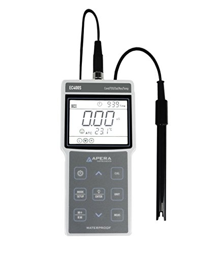 (Apera Instruments AI422 EC400S Portable EC (Conductivity)/TDS/Salinity/Resistivity) Meter Kit, GLP Data Management (500 Groups of Data Storage), USB Data Output, 1.3