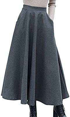 chouyatou Women's Retro Elastic Waist Flared Wool Maxi Skirt Side Zipper