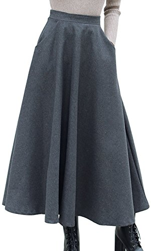 Chouyatou Women's Retro Elastic Waist Flared Wool Maxi Skirt Side Zipper (Medium, Grey-Have (Elastic Waist Wool Skirt)