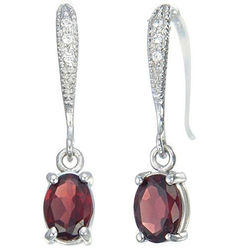 Sterling Silver Garnet Earrings (1.25 CT)