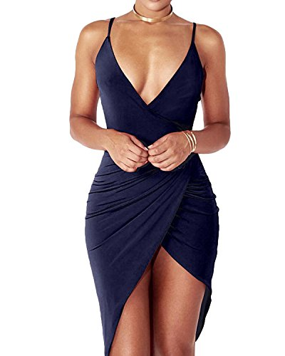 YS.DAMAI Women's Sexy Deep V Neck Sleeveless Spaghetti Strap Bodycon Wrap Dress...