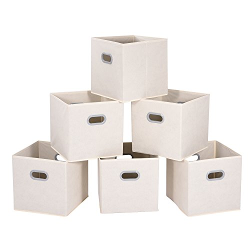 MaidMAX Cloth Storage Bins Cubes Baskets Containers with Dual Plastic Handles for Home Closet Bedroom Drawers Organizers, Foldable, Beige, 12×12×12″, Set of 6 ()