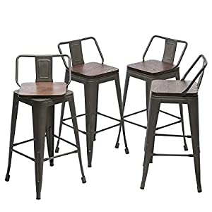 "Yongqiang 24"" Swivel Metal Bar Stools with Backs Counter Height Barstools Set of 4 Industrial Dining Bar Chairs with Wooden Seat Rusty"