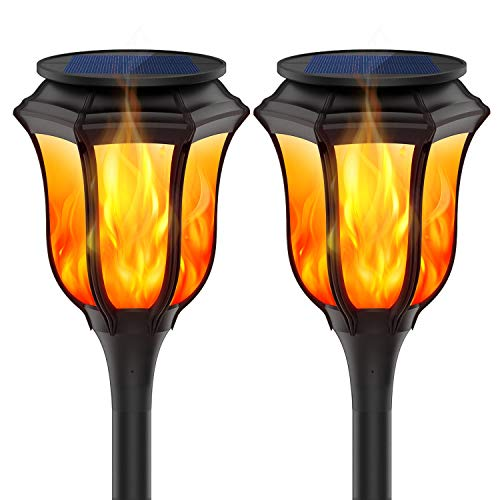 Tdbest Solar Torch Light Outdoor Waterproof Solar Flame Light Landscape Decoration Light Auto On/Off for Garden, Pool,Yard Patio Driveway, 2 Pack