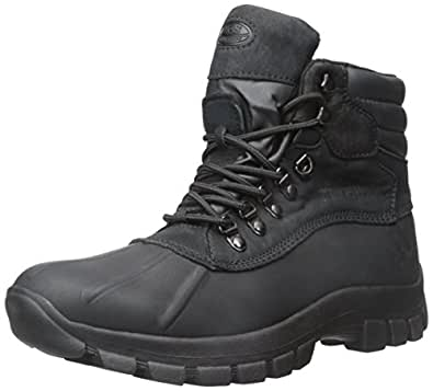 Kingshow - Mens Warm Waterproof Winter Leather High Height Snow Boot, Black 37122-6D(M)US-FBA