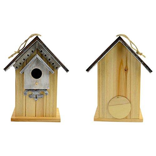Drew DeRose Gingerbread House Natural Wood Grain 10 x 8 Metal Birdhouse With Twine Hanger - Metal Twine