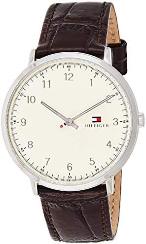 Tommy Hilfiger Men s Sophisticated Sport Stainless Steel Quartz Watch with Leather Calfskin Strap, Brown, 20 Model 1791338