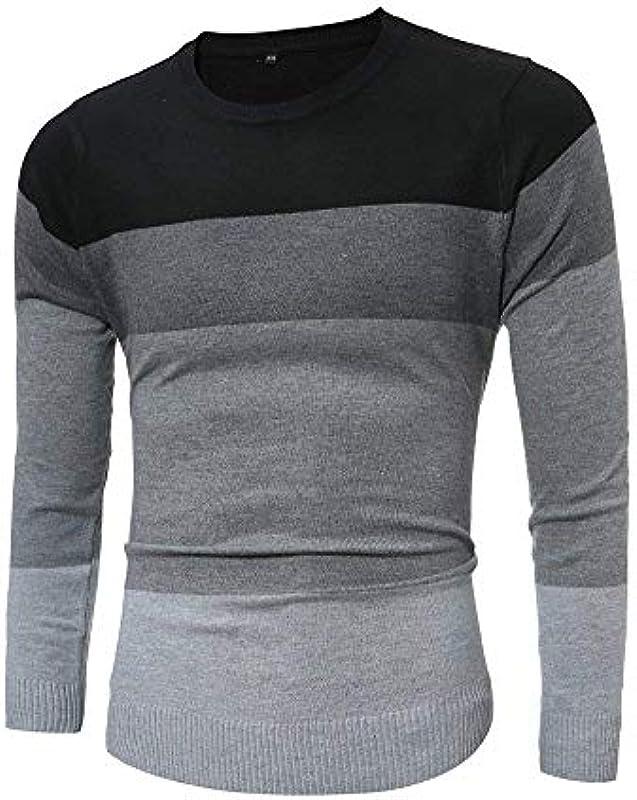 Męski sweter Knit Crew Tops Neck sweter z długim rękawem sweter prosty styl modny w paski Slim Fit sweter z dzianiny: Odzież