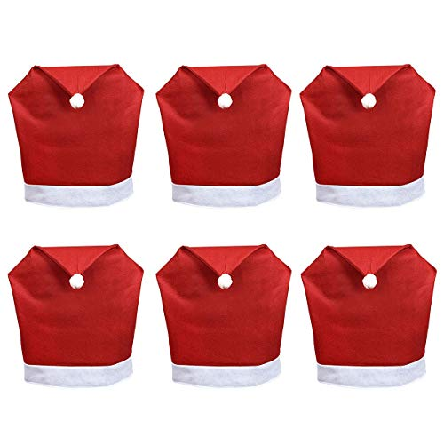 DH 6 Pcs Santa Hat Chair Back Covers,Classic Red Xmas Chair Slipcovers for Christmas Holiday Festive Party Kitchen Dining Room Chair Decoration
