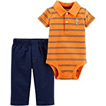 Monkey Orange Striped with Navy, Preemie Baby Boy 2-Piece Set, Bodysuit and Jogging Style Pull-on Pants