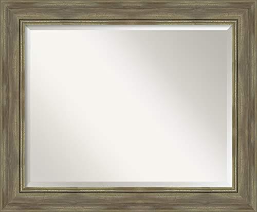 Amanti Art Framed Alexandria Greywash Solid Wood Wall Mirrors, Glass Size 28x22,