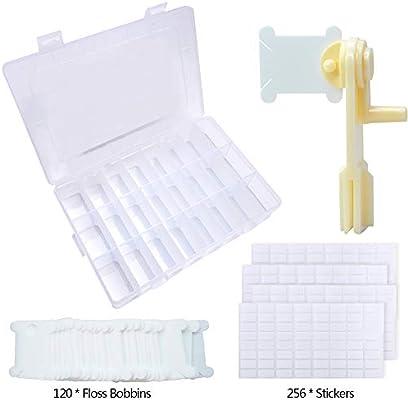 120 piezas de hilo de plástico blanco bobinas conjunto bordado ...