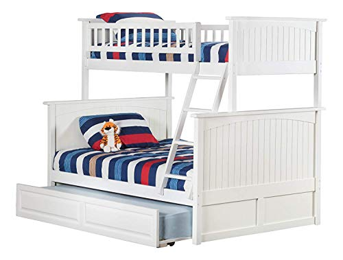 Atlantic Furniture AB59232 Nantucket Bunk Bed with Twin Size Raised Panel Trundle, Twin/Full, White