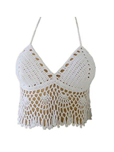 White Handmade Crochet Halter Crop Top Bikini Swimsuit, One -