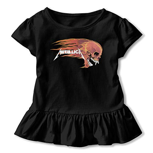 TiaKudy Master of Puppets Tour Dates Baby Girls' Short Sleeve T-Shirt Toddler Tops Black