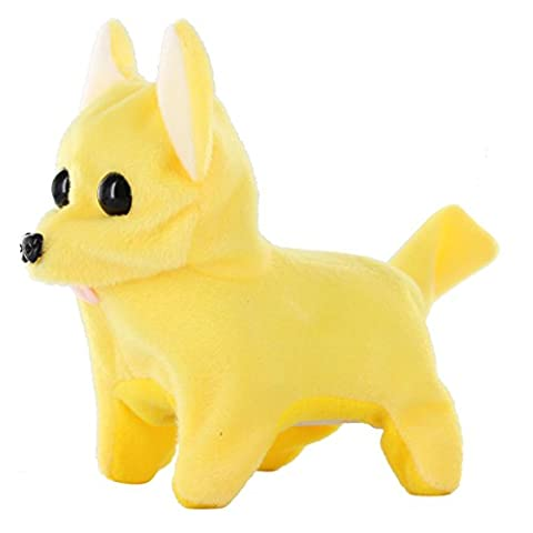 Kid's Barking Walking Wagging Chihuahua Puppy Dog Pat Toy Yellow (Turn Concrete Into Gold)