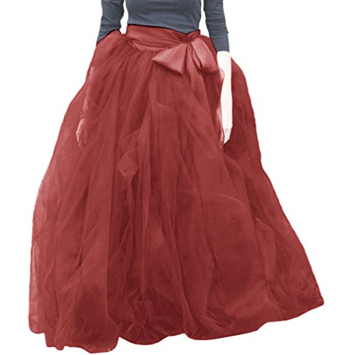 Soire jupes Line Red Femme volants A Tulle Wdpl Robe Wine Tutu w0R8Sq
