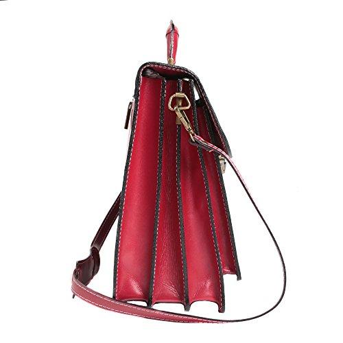hombre la de Made italiano 39x30x18 cuero Italy Maletín de bolsa mujer El Rojo Cartel Cm y in en 7S8SYPpnq