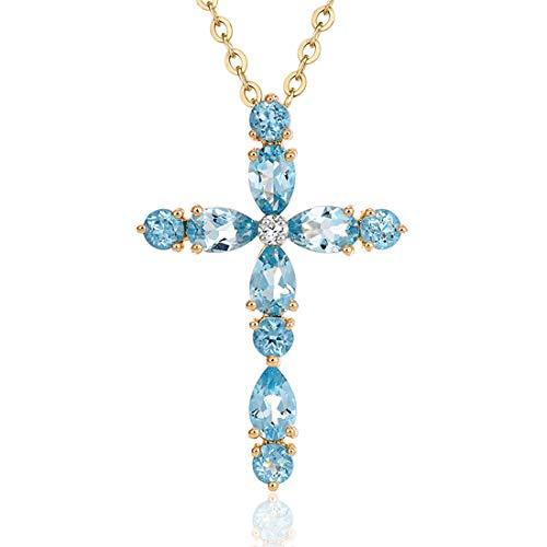 Carleen 14K Solid Yellow Gold 1.396cttw Blue Topaz 0.06cttw Diamond Crucifix Dainty Pendant Necklace Fine Gemstone Jewelry For Women Girls, 16