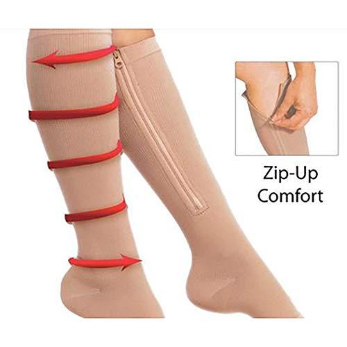 1Pair Socks Women's Slim Sleeping Leg Shaper Compression Burn Fat Zipper Socks (Nude, 43cm)