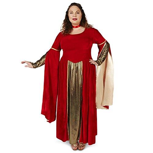 Red Velvet Renaissance Dress Adult Plus Costume 1X (Fair Maiden Renaissance Costume)
